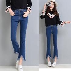 For Sale 2017 New Fashion Lady Jeans Bootleg Irregular Nine Jeans Women Tassel Flared Denim Pants Slim High Waist Cropped Jeans Loose Trouser Intl