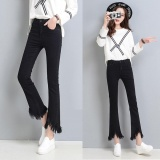 2017 New Fashion Lady Jeans Bootleg Irregular Nine Jeans Women Tassel Flared Denim Pants Slim High Waist Cropped Jeans Loose Trouser Intl Oem Cheap On China