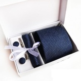 Buy 2017 New High Quality 8Cm Ties Set For Men Cufflink Pocket Square Tie Clips Handkerchief Mens Striped Wedding Party Necktie With Gift Box Navy Blue Intl Online China