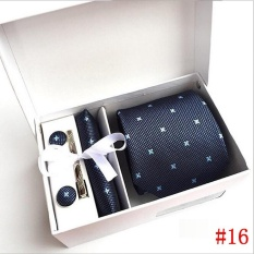 2017 New High Quality 8Cm Ties Set For Men Cufflink Pocket Square Tie Clips Handkerchief Mens Striped Wedding Party Necktie With Gift Box Navy Blue Intl For Sale Online