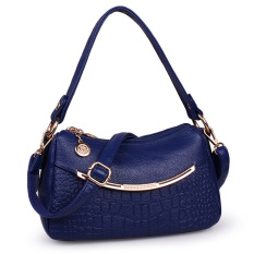 Korean Style New Style Middle Aged Shoulder Diagonal Package Women S Bag Blue Blue Lower Price