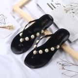 Buy 2017 New Korean Version Pearl Sweet Bright Drill Pinch Feet Flat Beach Women Beach Slippers Flip Flops Women Black Intl China