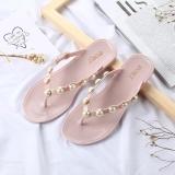 Discount 2017 New Korean Version Pearl Sweet Bright Drill Pinch Feet Flat Beach Women Beach Slippers Flip Flops Women Pink Intl China