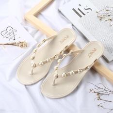 Discount 2017 New Korean Version Pearl Sweet Bright Drill Pinch Feet Flat Beach Women Beach Slippers Flip Flops Women White Intl Oem On China