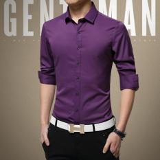 Compare Price 2017 New No Iron Silk Male Shirt Plain Mens Dress Shirts Long Sleeve Thin Summer Suit Shirt For Work Office Business Purple Intl Oem On China