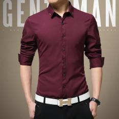 Sale 2017 New No Iron Silk Male Shirt Plain Mens Dress Shirts Long Sleeve Thin Summer Suit Shirt For Work Office Business Red Intl Oem Original