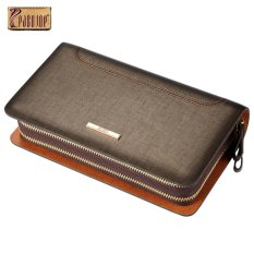 Compare 2017 New Pabojoe Gents Authentic Leather Business Casual Clutch Wallet Double Zipper Wrist Bag Handbag Organizer Card Cash Holder Clutch Bag Intl