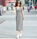 Price Cover The Belly Slimming Effect Slim Fit Sleeveless Sling Black Dress Flower Gray Online China