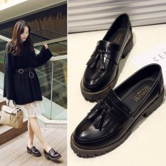 2017 New Spring Autumn British Style Casual Flats Women Shoes Solid Fringe Ladies Tassel Loafers Slip On Single Shoes L17195 Black Intl Cheap