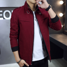 Price New Style Autumn Slim Fit On The Casual Jacket Red Wine Oem Online