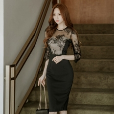 Great Deal Women S Stylist S*xy Lace Backless Slim Fit Mid Length Dress