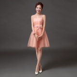 The Cheapest New Style Bridesmaid Wedding Gown Bridesmaid Dress 568 Short Pink Online