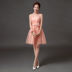 Compare New Style Bridesmaid Wedding Gown Bridesmaid Dress 568 Short Pink