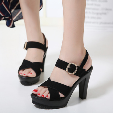 Nubuck W Belted Platform Toe High Heel Sandals Black Shopping