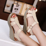 Buy Korean Style Leather Thick Bottomed Platform Sandals Off White Color Cheap Singapore