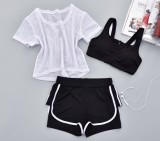 Sale Three Piece Suit Fitness Room Female Sports Bra Yoga Clothes Gauze 3 Piece 7 Gauze 3 Piece 7 Oem Online