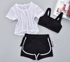 Three Piece Suit Fitness Room Female Sports Bra Yoga Clothes Gauze 3 Piece 7 Gauze 3 Piece 7 Lower Price