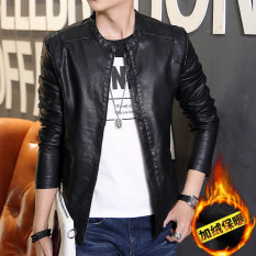 Best Offer Korean Motorcycle Youth Light Coat Men Leather Jacket Black Plus Velvet Black Plus Velvet