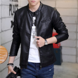Buy Korean Motorcycle Youth Light Coat Men Leather Jacket 03 Black Single In 03 Black Single In Oem