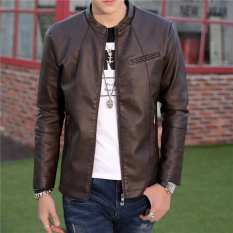 Low Price Korean Motorcycle Youth Light Coat Men Leather Jacket 03 Coffee Color Single In 03 Coffee Color Single In
