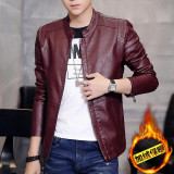 Best Korean Motorcycle Youth Light Coat Men Leather Jacket Claret Plus Velvet Claret Plus Velvet