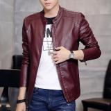 Cheaper Korean Motorcycle Youth Light Coat Men Leather Jacket Purplish Red Single In Purplish Red Single In