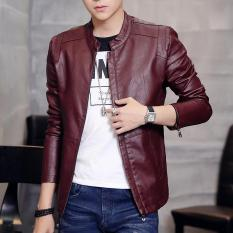Best Reviews Of Korean Motorcycle Youth Light Coat Men Leather Jacket Purplish Red Single In Purplish Red Single In