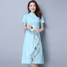 Low Price Chinese Style National Style New Style Spring And Summer Women S Skirt Blue Blue