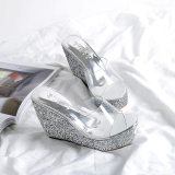 Sale Versatile Sequin Transparent New Style Slanted Heel Slippers Silver Oem On China