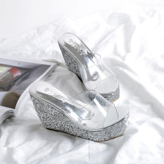 Where To Shop For Versatile Sequin Transparent New Style Slanted Heel Slippers Silver