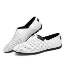 Compare Price 2017 New Summer Mens Loafers Genuine Leather Men Driving Shoes Hollow Out Big Size 45 46 47 Intl On China