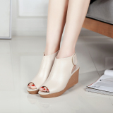 Price Women S Leather High Heeled Peep Toe Platform Sandals Beige Beige China