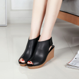 Price Comparisons Of Women S Leather High Heeled Peep Toe Platform Sandals Black Black