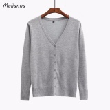 2017 New Women V Neck Knitted Casual Ice Silk Short Sweaters Cardigans Lady Knitting Long Sleeved Knitwear Jacket Outwear Tops Grey Intl Price