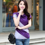 Great Deal Loose Korean Style Female New Style Short Sleeve Top T Shirt Purple Gray