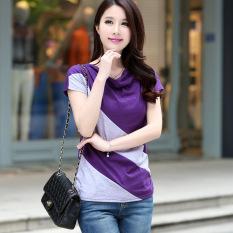 Loose Korean Style Female New Style Short Sleeve Top T Shirt Purple Gray Best Buy