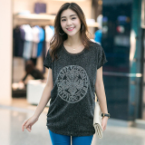 Buy Loose Silver Mid Length Short Sleeved Hot Drilling T Shirt Black And Gray Online