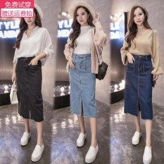 Price Comparisons Women S Slimming Split Denim Skirt Light Blue Dark Blue Black Dark Blue Dark Blue