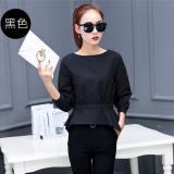 Slimming Effect Long Sleeved Autumn Top Korean Style Shirt Black Black Oem Cheap On China