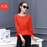 Slimming Effect Long Sleeved Autumn Top Korean Style Shirt Red Red Oem Cheap On China