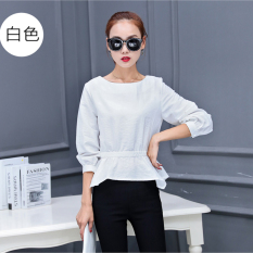 Low Price Slimming Effect Long Sleeved Autumn Top Korean Style Shirt White White