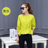 Cheap Slimming Effect Long Sleeved Autumn Top Korean Style Shirt Yellow Yellow