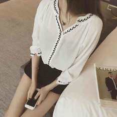 Latest Korean Style Black Meat Shirt Three Quarter Length Sleeve Chiffon Shirt White