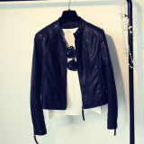Spring And Autumn New Style Motorcycle Leather Coat Black Free Shipping