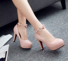 Sweet White Fine With Waterproof Taiwan High Heeled Shoes Shoes Pink Color For Sale