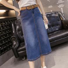 Great Deal Loose Korean Style Plus Sized Skirt High Waisted Denim Dress