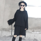 Cheapest Loose Korean Style Wind Female Mid Length T Shirt Hoodie Black Online