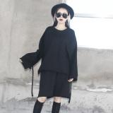 Loose Korean Style Wind Female Mid Length T Shirt Hoodie Black Deal