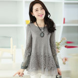 Price Print Long Section Slimming Effect Tide Models Long Sleeved Shirt Gray In Stock Now On China
