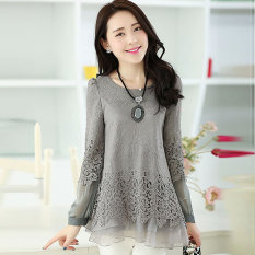 Buy Print Long Section Slimming Effect Tide Models Long Sleeved Shirt Gray In Stock Now Cheap China